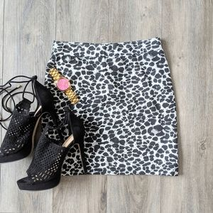 Snow Leopard Print Mini Skirt